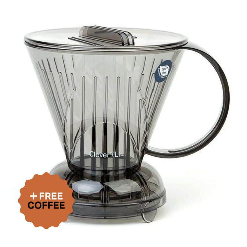 Clever Coffee Dripper (1 Cup/350ml, Clear Grey) + FREE Coffee