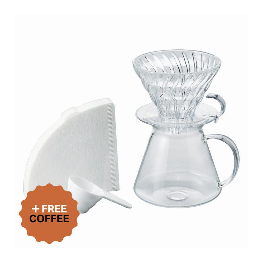 Simply Hario V60 Glass Brewing Kit (4 Cup, Clear) + FREE Coffee