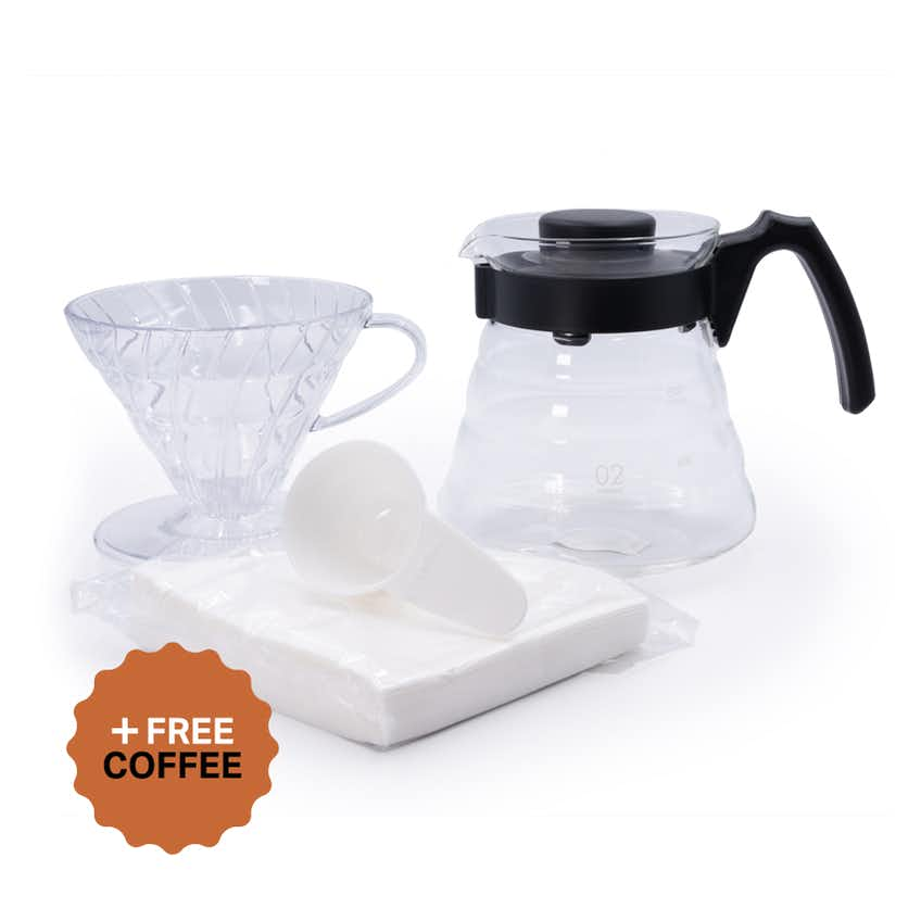 Hario V60 Craft Coffee Starter Kit (4 Cup/700ml, Size 02 – Clear) + FREE Coffee
